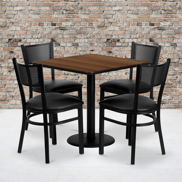 Wholesale 30'' Square Walnut Laminate Table Set with 4 Grid Back Metal Chairs - Black Vinyl Seat