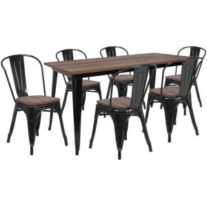 "Wholesale 30.25"" x 60"" Black Metal Table Set with Wood Top and 6 Stack Chairs"