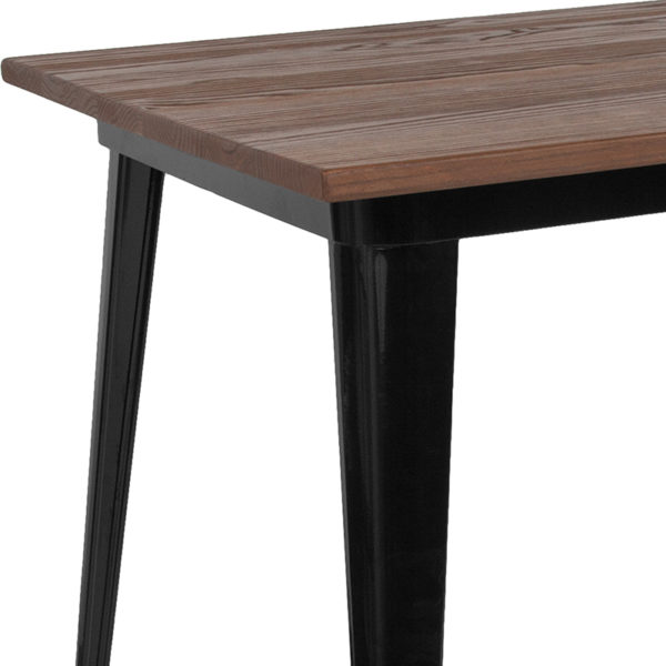 Metal Cafe Table 30.25x60 Black Metal Table