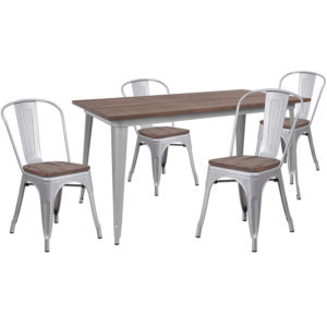 "Wholesale 30.25"" x 60"" Silver Metal Table Set with Wood Top and 4 Stack Chairs"