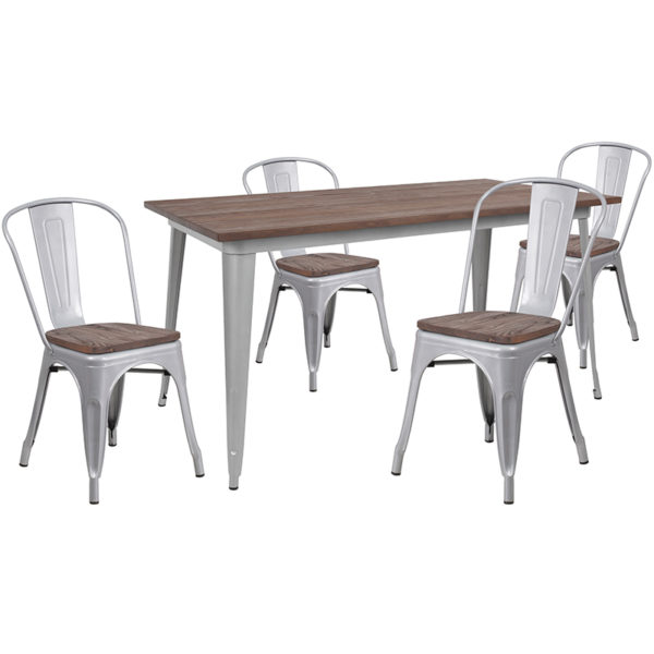 """Wholesale 30.25"""" x 60"""" Silver Metal Table Set with Wood Top and 4 Stack Chairs"""