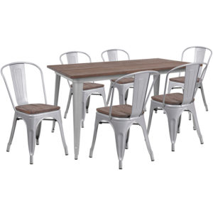 "Wholesale 30.25"" x 60"" Silver Metal Table Set with Wood Top and 6 Stack Chairs"
