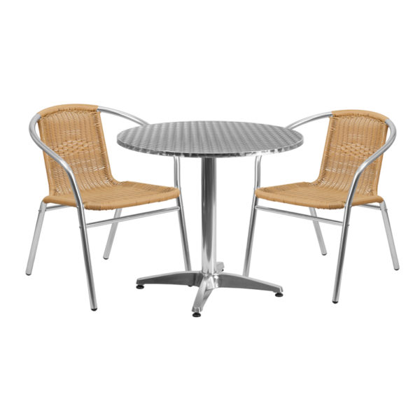 Wholesale 31.5'' Round Aluminum Indoor-Outdoor Table Set with 2 Beige Rattan Chairs