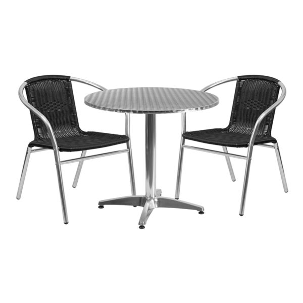 Wholesale 31.5'' Round Aluminum Indoor-Outdoor Table Set with 2 Black Rattan Chairs