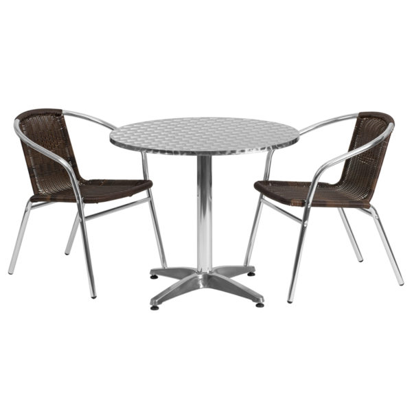Wholesale 31.5'' Round Aluminum Indoor-Outdoor Table Set with 2 Dark Brown Rattan Chairs