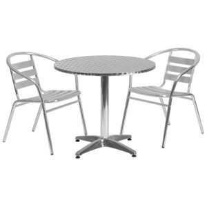Wholesale 31.5'' Round Aluminum Indoor-Outdoor Table Set with 2 Slat Back Chairs
