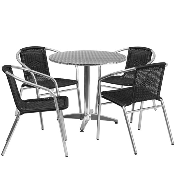 Wholesale 31.5'' Round Aluminum Indoor-Outdoor Table Set with 4 Black Rattan Chairs