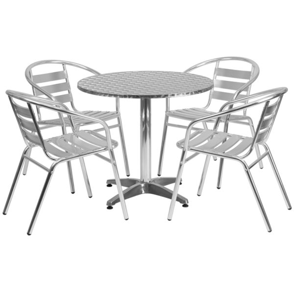 Wholesale 31.5'' Round Aluminum Indoor-Outdoor Table Set with 4 Slat Back Chairs