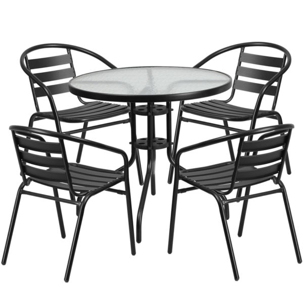 Wholesale 31.5'' Round Glass Metal Table with 4 Black Metal Aluminum Slat Stack Chairs