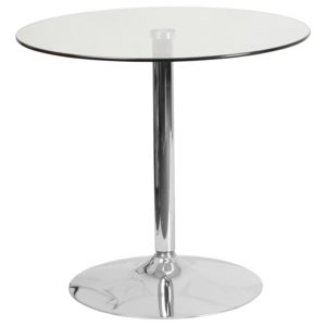 Wholesale 31.5'' Round Glass Table with 29''H Chrome Base