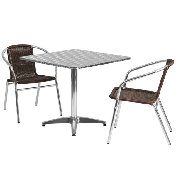 Wholesale 31.5'' Square Aluminum Indoor-Outdoor Table Set with 2 Dark Brown Rattan Chairs