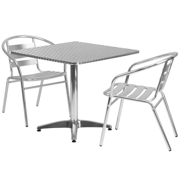 Wholesale 31.5'' Square Aluminum Indoor-Outdoor Table Set with 2 Slat Back Chairs