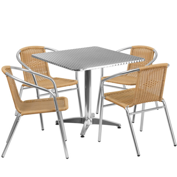 Wholesale 31.5'' Square Aluminum Indoor-Outdoor Table Set with 4 Beige Rattan Chairs
