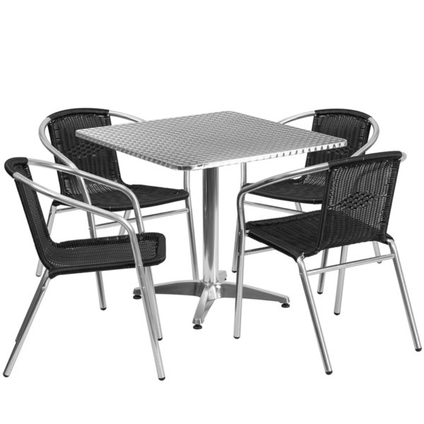 Wholesale 31.5'' Square Aluminum Indoor-Outdoor Table Set with 4 Black Rattan Chairs