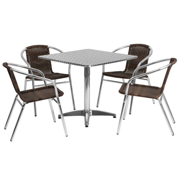Wholesale 31.5'' Square Aluminum Indoor-Outdoor Table Set with 4 Dark Brown Rattan Chairs