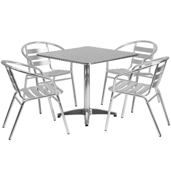 Wholesale 31.5'' Square Aluminum Indoor-Outdoor Table Set with 4 Slat Back Chairs