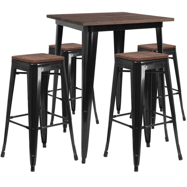"Wholesale 31.5"" Square Black Metal Bar Table Set with Wood Top and 4 Backless Stools"
