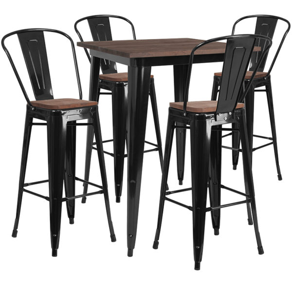 "Wholesale 31.5"" Square Black Metal Bar Table Set with Wood Top and 4 Stools"