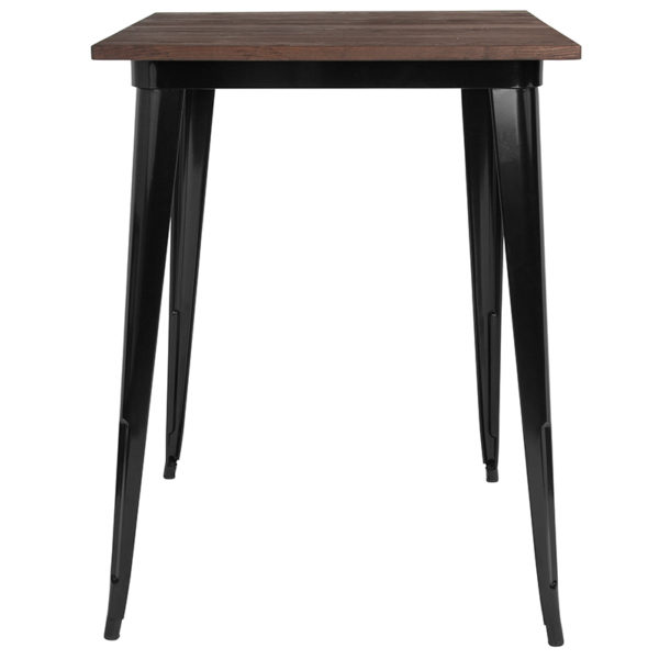 "Lowest Price 31.5"" Square Black Metal Indoor Bar Height Table with Walnut Rustic Wood Top"