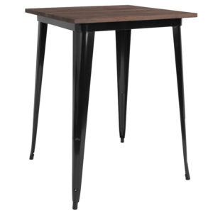 "Wholesale 31.5"" Square Black Metal Indoor Bar Height Table with Walnut Rustic Wood Top"