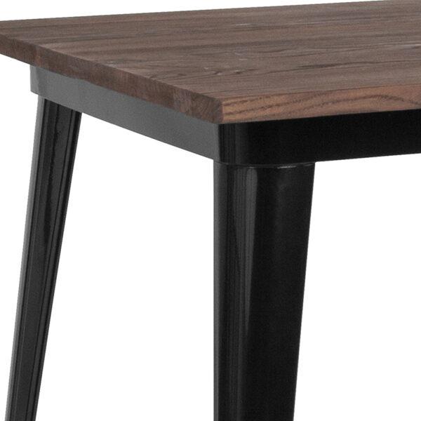 Metal Cafe Bar Table 31.5SQ Black Metal Bar Table