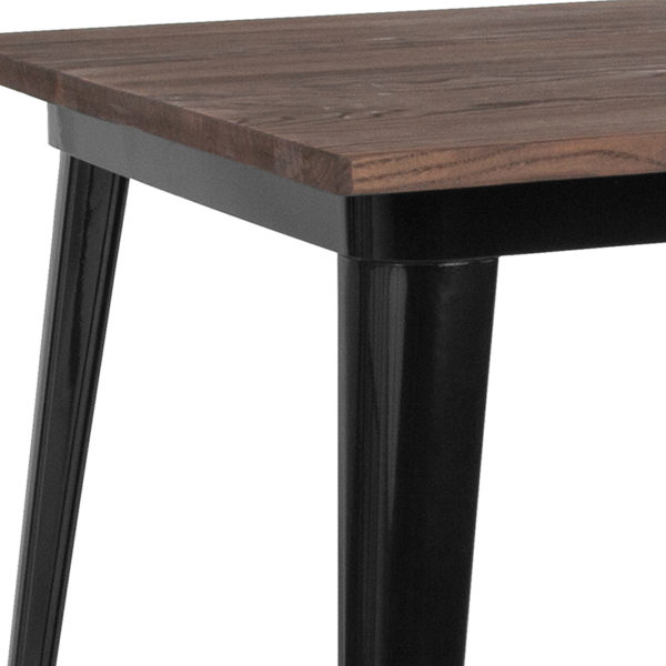 Metal Cafe Table 31.5SQ Black Metal Table