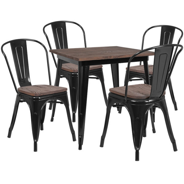 """Wholesale 31.5"""" Square Black Metal Table Set with Wood Top and 4 Stack Chairs"""