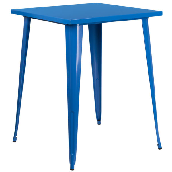 Wholesale 31.5'' Square Blue Metal Indoor-Outdoor Bar Height Table