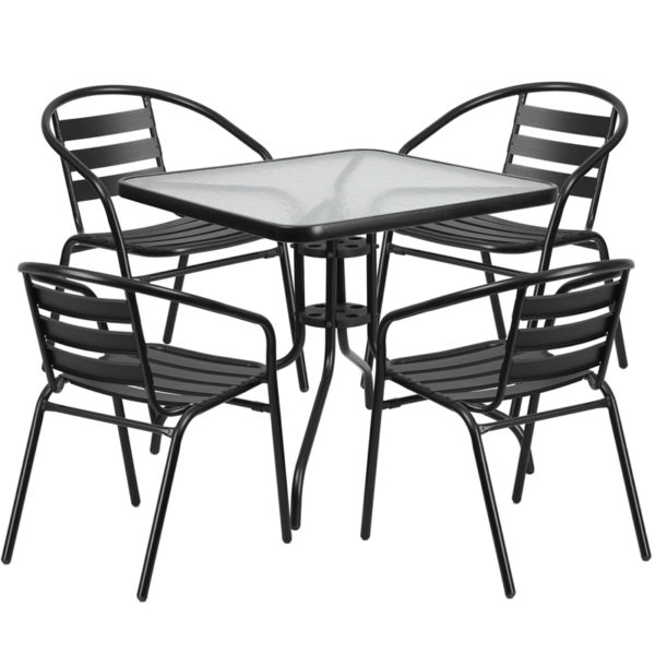 Wholesale 31.5'' Square Glass Metal Table with 4 Black Metal Aluminum Slat Stack Chairs