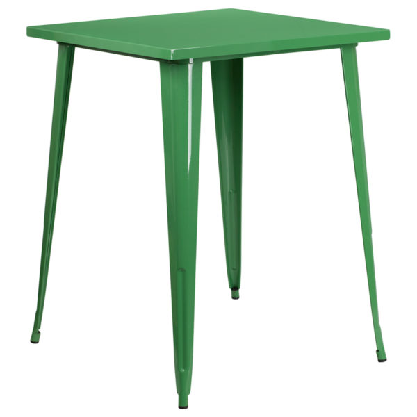 Wholesale 31.5'' Square Green Metal Indoor-Outdoor Bar Height Table