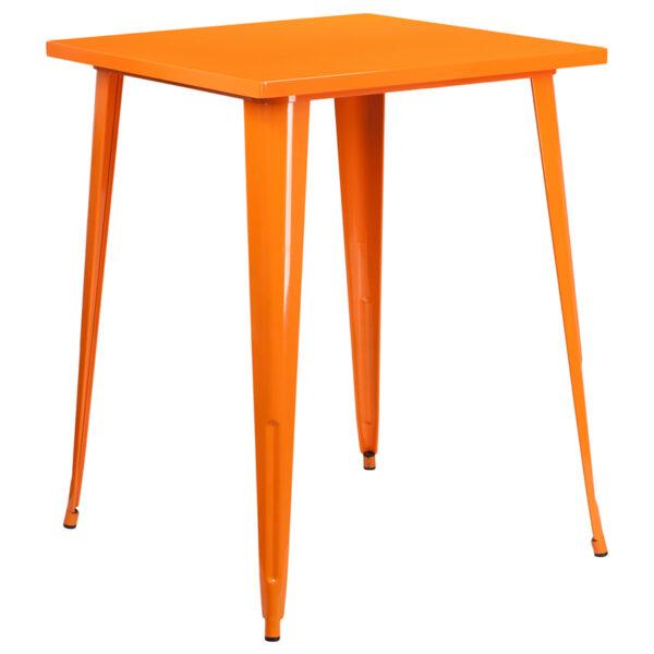 Wholesale 31.5'' Square Orange Metal Indoor-Outdoor Bar Height Table