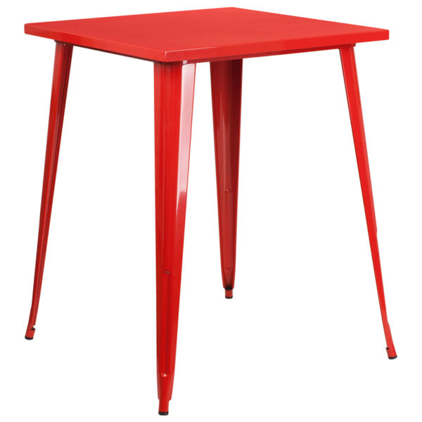 Wholesale 31.5'' Square Red Metal Indoor-Outdoor Bar Height Table