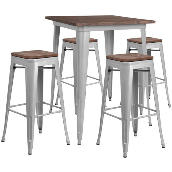 """Wholesale 31.5"""" Square Silver Metal Bar Table Set with Wood Top and 4 Backless Stools"""