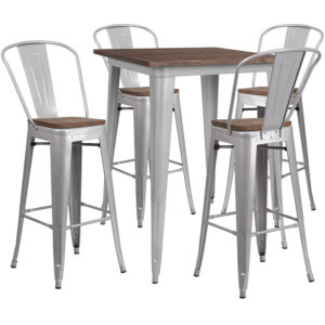 "Wholesale 31.5"" Square Silver Metal Bar Table Set with Wood Top and 4 Stools"