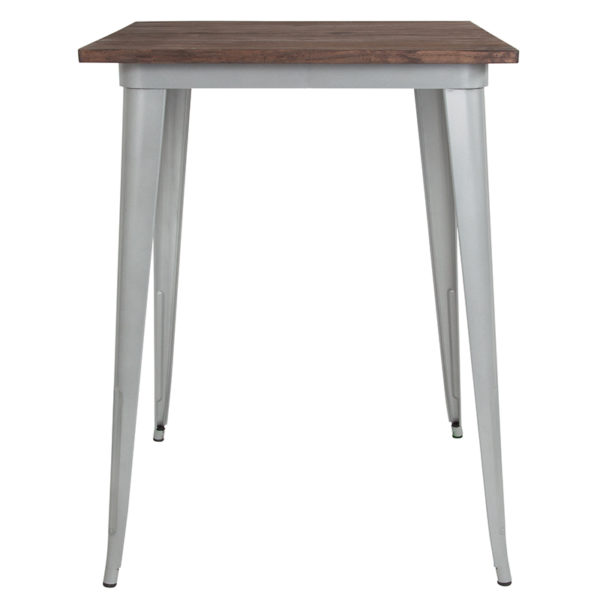 "Lowest Price 31.5"" Square Silver Metal Indoor Bar Height Table with Walnut Rustic Wood Top"