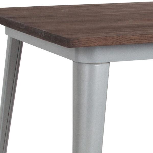 Metal Cafe Bar Table 31.5SQ Silver Metal Bar Table