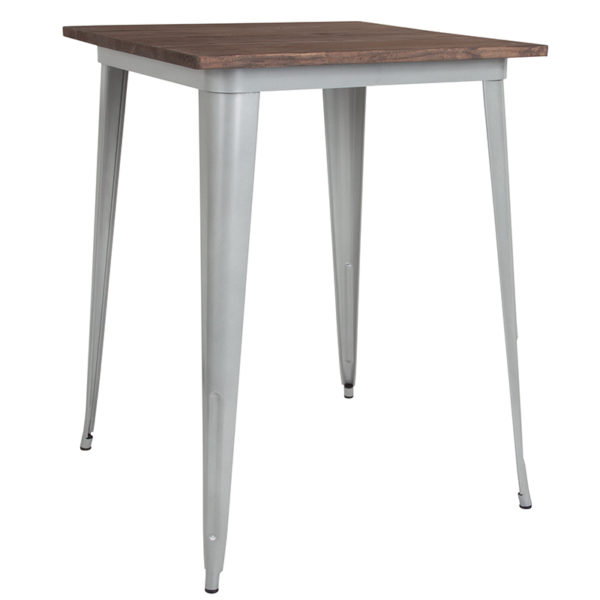"Wholesale 31.5"" Square Silver Metal Indoor Bar Height Table with Walnut Rustic Wood Top"