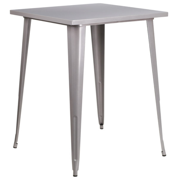 Wholesale 31.5'' Square Silver Metal Indoor-Outdoor Bar Height Table