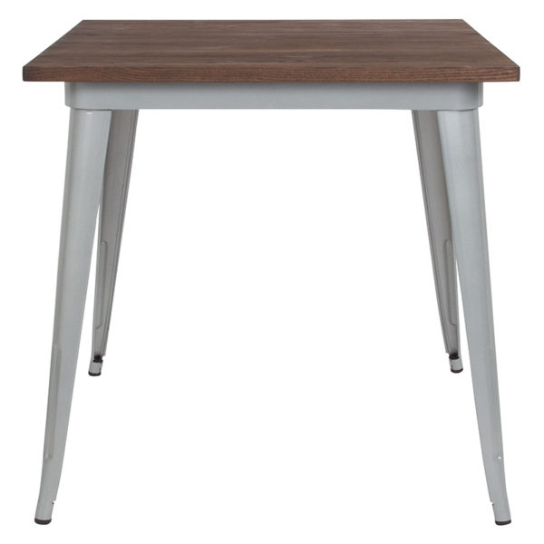 """Lowest Price 31.5"""" Square Silver Metal Indoor Table with Walnut Rustic Wood Top"""
