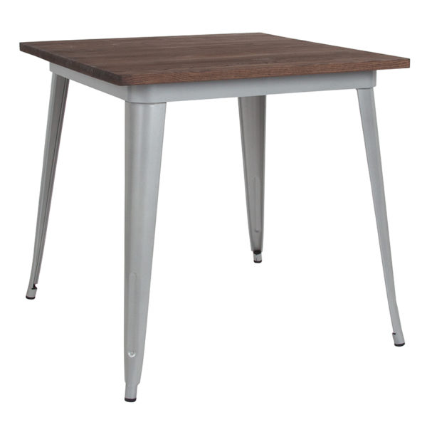"""Wholesale 31.5"""" Square Silver Metal Indoor Table with Walnut Rustic Wood Top"""