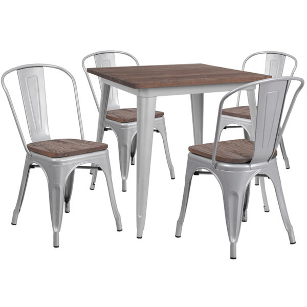"""Wholesale 31.5"""" Square Silver Metal Table Set with Wood Top and 4 Stack Chairs"""