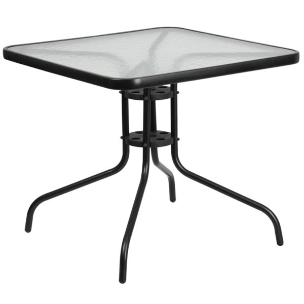 Wholesale 31.5'' Square Tempered Glass Metal Table