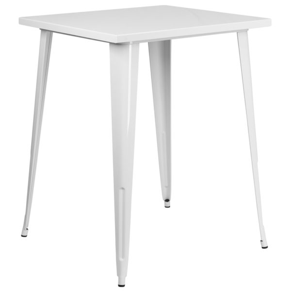 Wholesale 31.5'' Square White Metal Indoor-Outdoor Bar Height Table