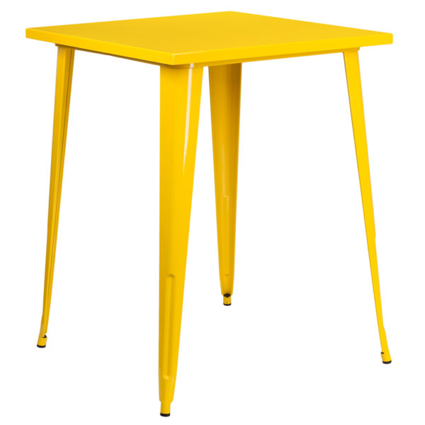 Wholesale 31.5'' Square Yellow Metal Indoor-Outdoor Bar Height Table