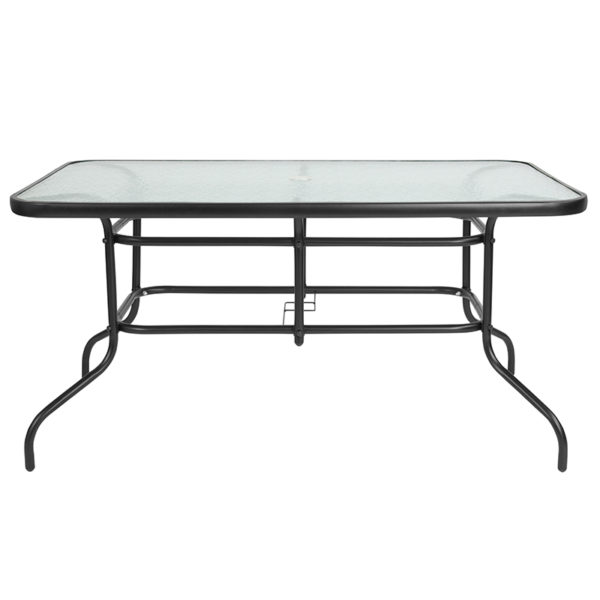 "Lowest Price 31.5"" x 55"" Rectangular Tempered Glass Metal Table"