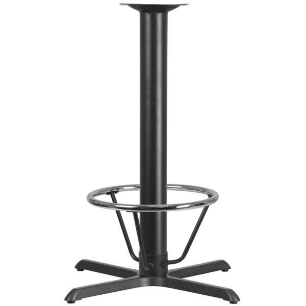 Wholesale 33'' x 33'' Restaurant Table X-Base with 4'' Dia. Bar Height Column and Foot Ring