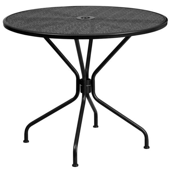 Wholesale 35.25'' Round Black Indoor-Outdoor Steel Patio Table