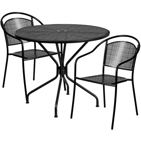 Wholesale 35.25'' Round Black Indoor-Outdoor Steel Patio Table Set with 2 Round Back Chairs