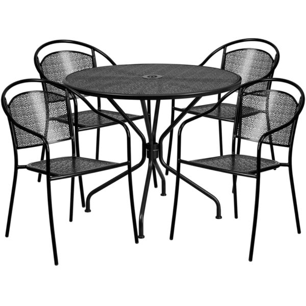 Wholesale 35.25'' Round Black Indoor-Outdoor Steel Patio Table Set with 4 Round Back Chairs