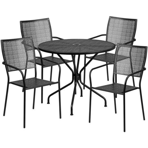 Wholesale 35.25'' Round Black Indoor-Outdoor Steel Patio Table Set with 4 Square Back Chairs